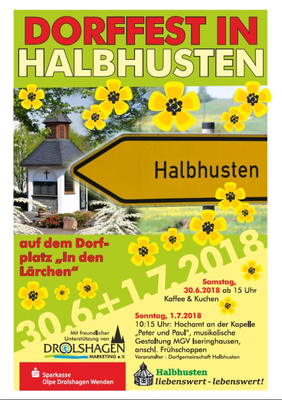 Plakate Dorffest Halbhusten 02.07. bis 03.07.2016